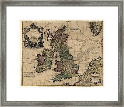 Antique Map Of Great Britain And Ireland By Guillaume Delisle - Circa 1730 Framed Print by Blue Monocle