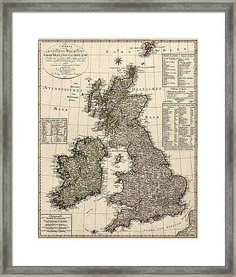 Antique Map Of Great Britain And Ireland By I. G. A. Weidner - 1801 Framed Print by Blue Monocle