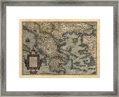Antique Map Of Greece By Abraham Ortelius - 1570 Framed Print