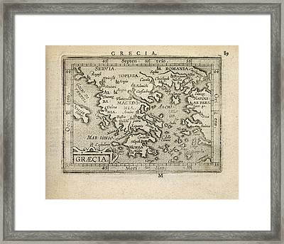 Antique Map Of Greece By Abraham Ortelius - 1603 Framed Print