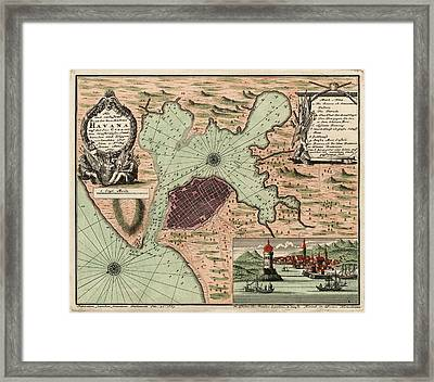 Antique Map Of Havana Cuba By Jacques Nicolas Bellin - 1739 Framed Print