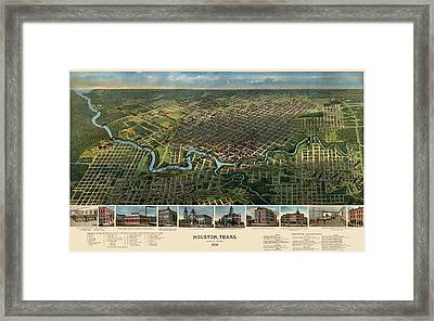 Antique Map Of Houston Texas - 1891 Framed Print by Blue Monocle