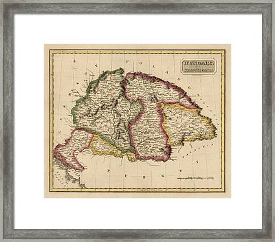 Antique Map Of Hungary By Fielding Lucas - Circa 1817 Framed Print