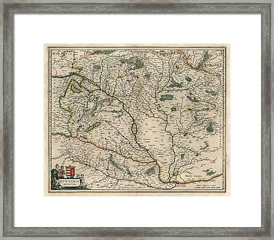 Framed Print featuring the drawing Antique Map Of Hungary By Willem Janszoon Blaeu - 1647 by Blue Monocle