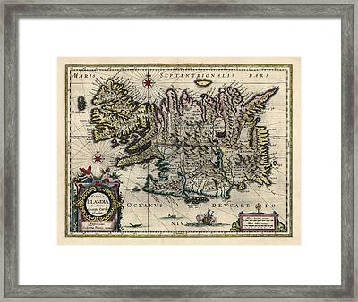 Framed Print featuring the drawing Antique Map Of Iceland By Willem Janszoon Blaeu - 1647 by Blue Monocle