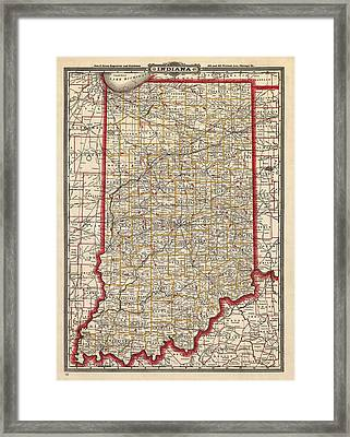 Antique Map Of Indiana By George Franklin Cram - 1888 Framed Print by Blue Monocle