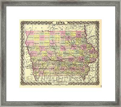 Antique Map Of Iowa 1855 Framed Print by Mountain Dreams