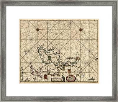 Antique Map Of Ireland And Great Britain By Hendrick Doncker - 1658 Framed Print by Blue Monocle