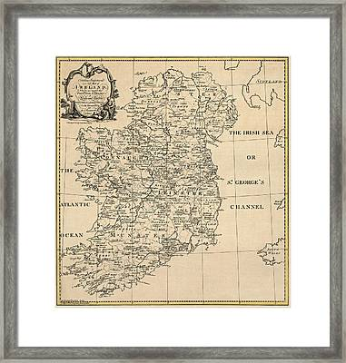 Antique Map Of Ireland By S. Thompson - Circa 1795 Framed Print