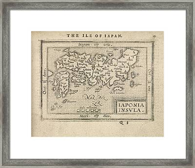 Antique Map Of Japan By Abraham Ortelius - 1603 Framed Print by Blue Monocle