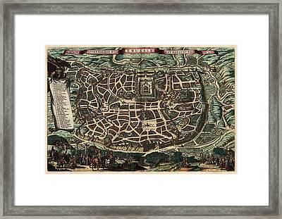 Antique Map Of Jerusalem By Nicolaes Visscher - Circa 1660 Framed Print by Blue Monocle