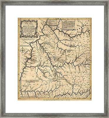 Antique Map Of Kentucky By John Filson - 1784 Framed Print by Blue Monocle