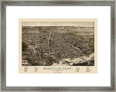 Antique Map Of Knoxville Tennessee By H. Wellge - 1886 Framed Print