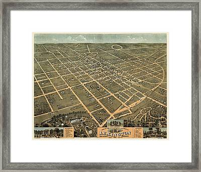 Antique Map Of Lexington Kentucky By A. Ruger - 1871 Framed Print by Blue Monocle