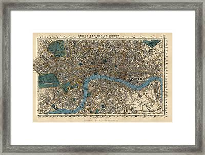 Antique Map Of London By C. Smith And Son - 1860 Framed Print by Blue Monocle