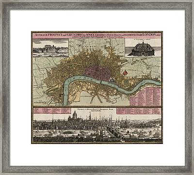 Antique Map Of London England By Johann Baptist Homann - Circa 1750 Framed Print by Blue Monocle