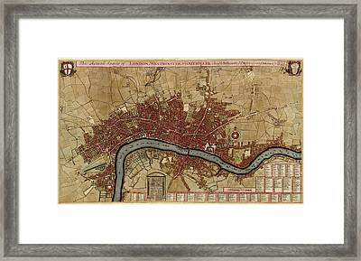 Antique Map Of London England By Robert Morden - 1700 Framed Print by Blue Monocle