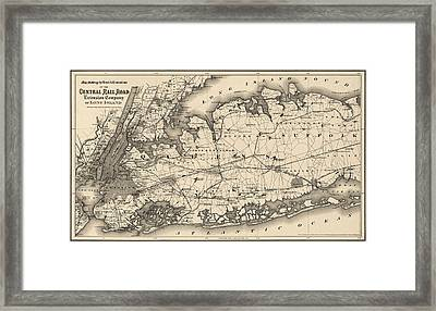Antique Map Of Long Island And New York City - 1873 Framed Print by Blue Monocle