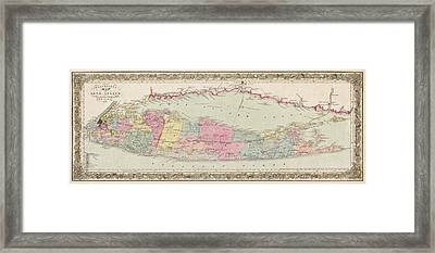 Antique Map Of Long Island By J.h. Colton And Co. - 1857 Framed Print by Blue Monocle