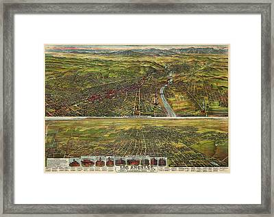Antique Map Of Los Angeles California By B.w. Pierce - 1894 Framed Print by Blue Monocle