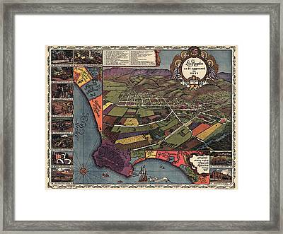 Antique Map Of Los Angeles California By Gores - 1929 Framed Print by Blue Monocle