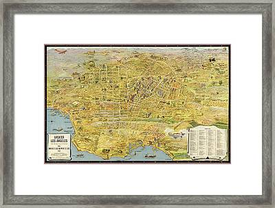Antique Map Of Los Angeles California By K. M. Leuschner - 1932 Framed Print by Blue Monocle