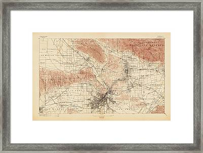 Antique Map Of Los Angeles - Usgs Topographic Map - 1897 Framed Print by Blue Monocle