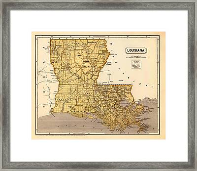 Antique Map Of Louisiana 1845 Framed Print by Mountain Dreams