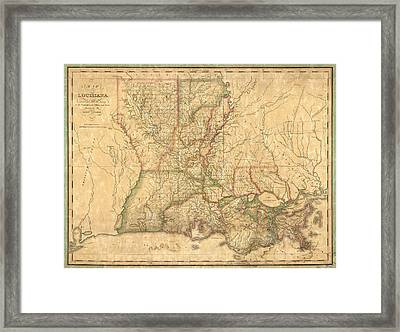 Framed Print featuring the drawing Antique Map Of Louisiana By John Melish - 1820 by Blue Monocle