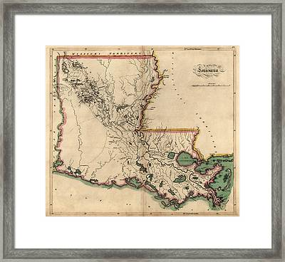 Antique Map Of Louisiana By Mathew Carey - 1814 Framed Print