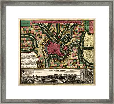 Antique Map Of Luxembourg City By Matthaeus Seutter - Circa 1730 Framed Print by Blue Monocle