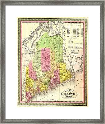 Antique Map Of Maine 1850 Framed Print