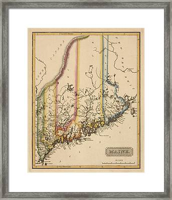 Antique Map Of Maine By Fielding Lucas - Circa 1817 Framed Print