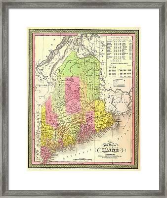 Antique Map Of Maine Framed Print