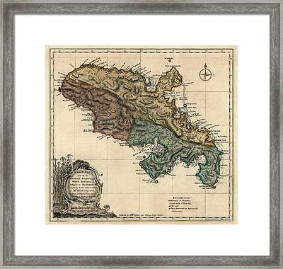 Antique Map Of Martinique By Thomas Jefferys - 1768 Framed Print by Blue Monocle