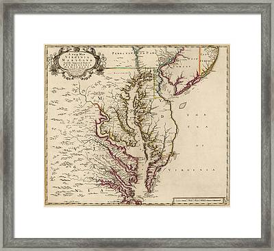 Antique Map Of Maryland And Virginia By John Senex - 1719 Framed Print by Blue Monocle