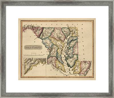 Antique Map Of Maryland By Fielding Lucas - Circa 1817 Framed Print