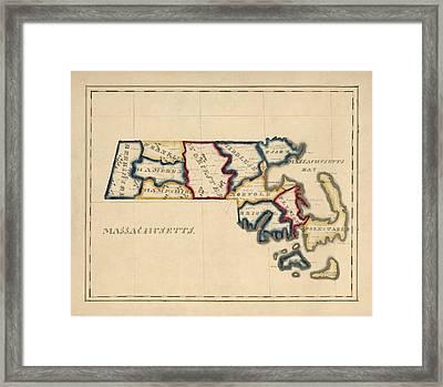 Antique Map Of Massachusetts By A. T. Perkins - Circa 1820 Framed Print