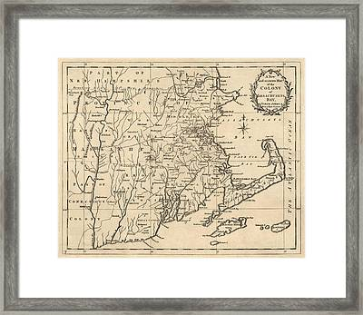 Antique Map Of Massachusetts By John Hinton - 1780 Framed Print by Blue Monocle
