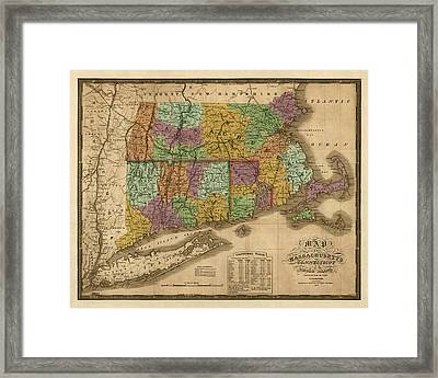 Antique Map Of Massachusetts Connecticut And Rhode Island By Samuel Augustus Mitchell - 1831 Framed Print by Blue Monocle