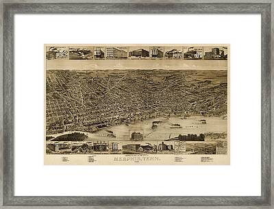 Antique Map Of Memphis Tennessee By H. Wellge - 1887 Framed Print