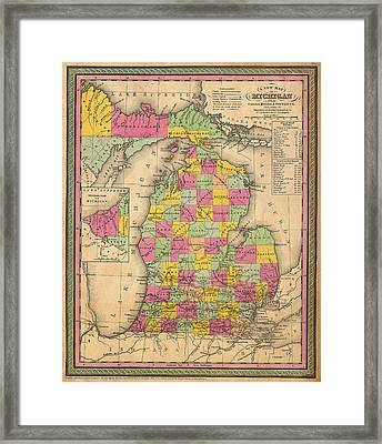 Antique Map Of Michigan 1853 Framed Print by Mountain Dreams