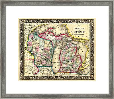 Antique Map Of Michigan And Wisconsin 1860 Framed Print by Mountain Dreams