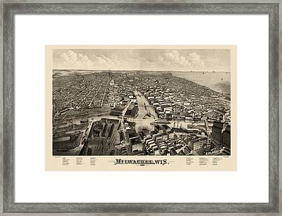 Antique Map Of Milwaukee Wisconsin By J.j. Stoner - 1879 Framed Print by Blue Monocle