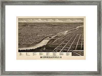Antique Map Of Minneapolis Minnesota By A. Ruger - 1879 Framed Print
