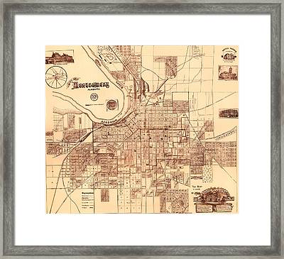 Antique Map Of Montgomery Alabama 1899 Framed Print by Mountain Dreams