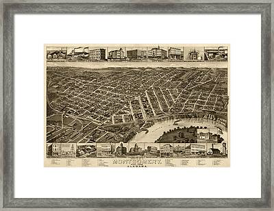 Antique Map Of Montgomery Alabama By H. Wellge - 1887 Framed Print by Blue Monocle