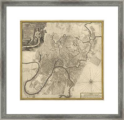 Antique Map Of Moscow Russia By Ivan Fedorovich Michurin - 1745 Framed Print