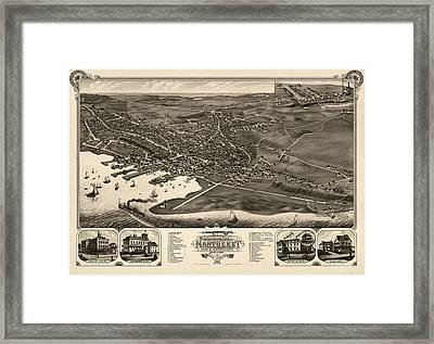 Antique Map Of Nantucket Massachusetts By J.j. Stoner - 1881 Framed Print