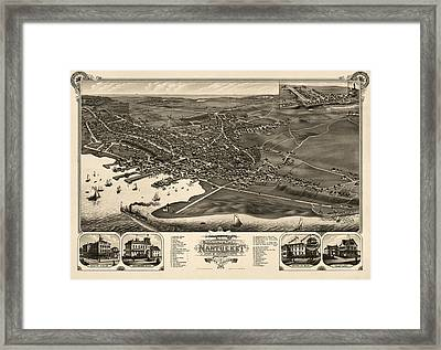 Antique Map Of Nantucket Massachusetts By J.j. Stoner - 1881 Framed Print by Blue Monocle
